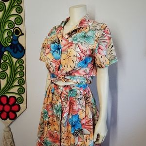 80s Tropical Print Button up top and Pleated skirt
